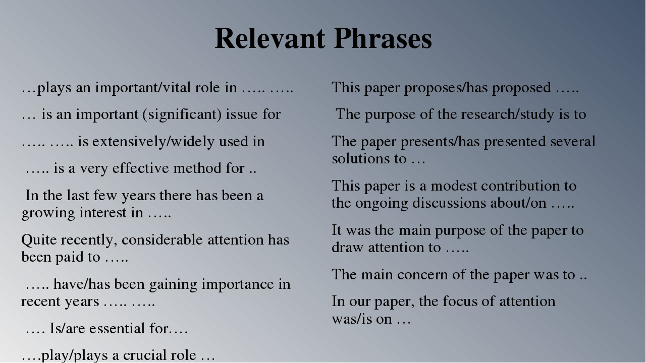 Relevant Phrases …plays an important/vital role in ….. ….. … is an important...