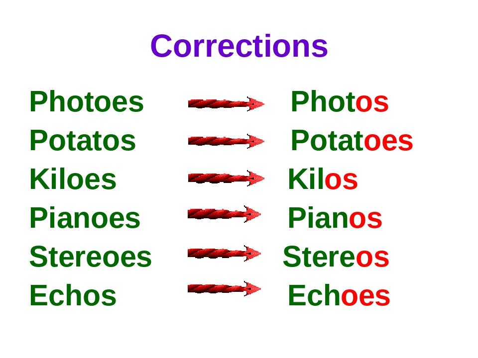 Corrections Photoes Photos Potatos Potatoes Kiloes Kilos Pianoes Pianos Stere...