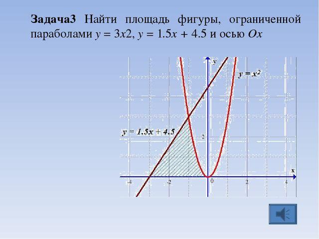 Задача3 Найти площадь фигуры, ограниченной параболами y = 3x2, y = 1.5x + 4.5...