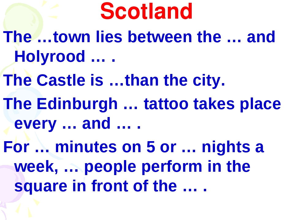 Scotland The …town lies between the … and Holyrood … . The Castle is …than th...
