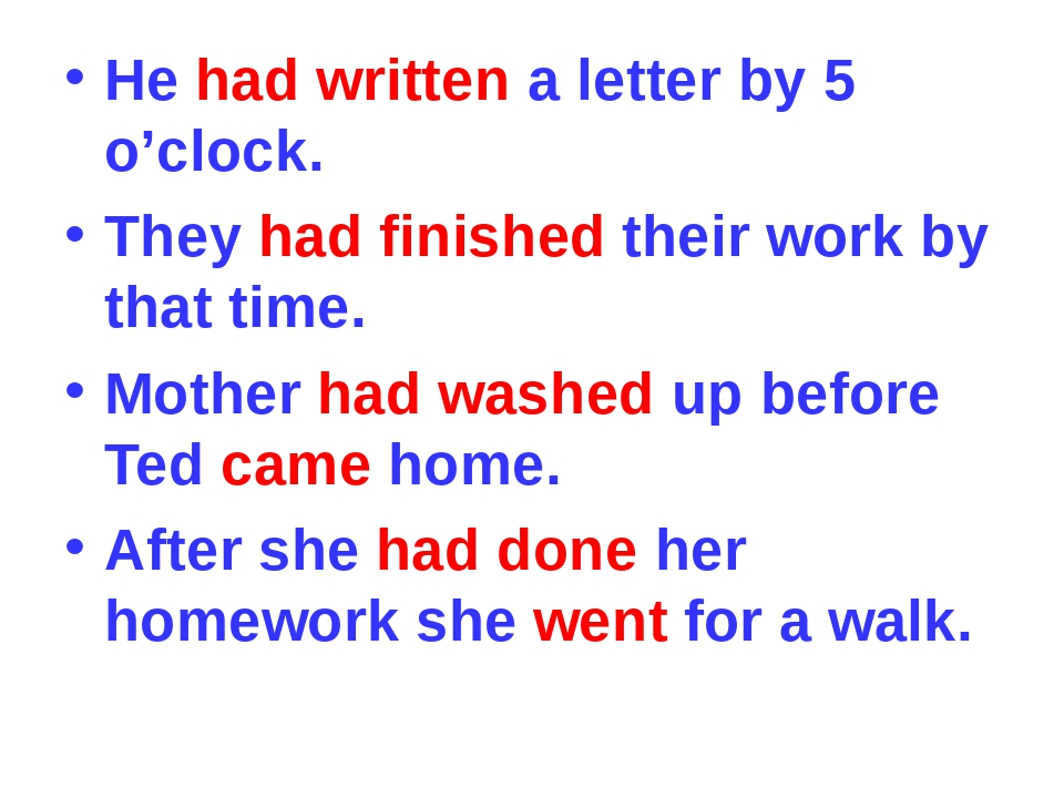 He had written a letter by 5 o'clock. They had finished their work by that ti...