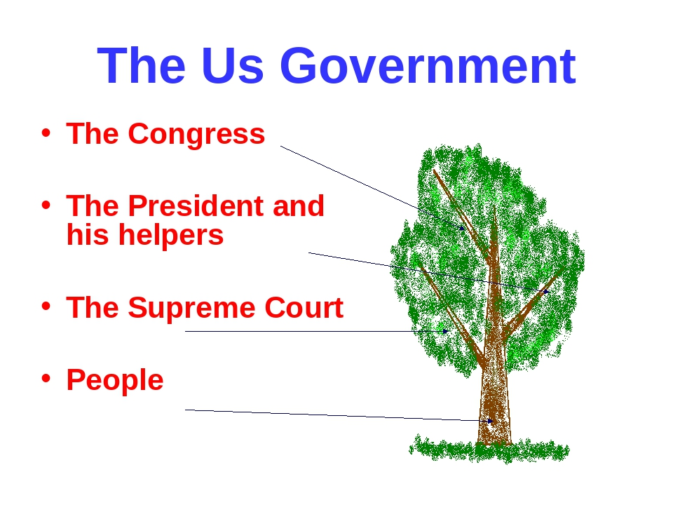 The Us Government The Congress The President and his helpers The Supreme Cour...