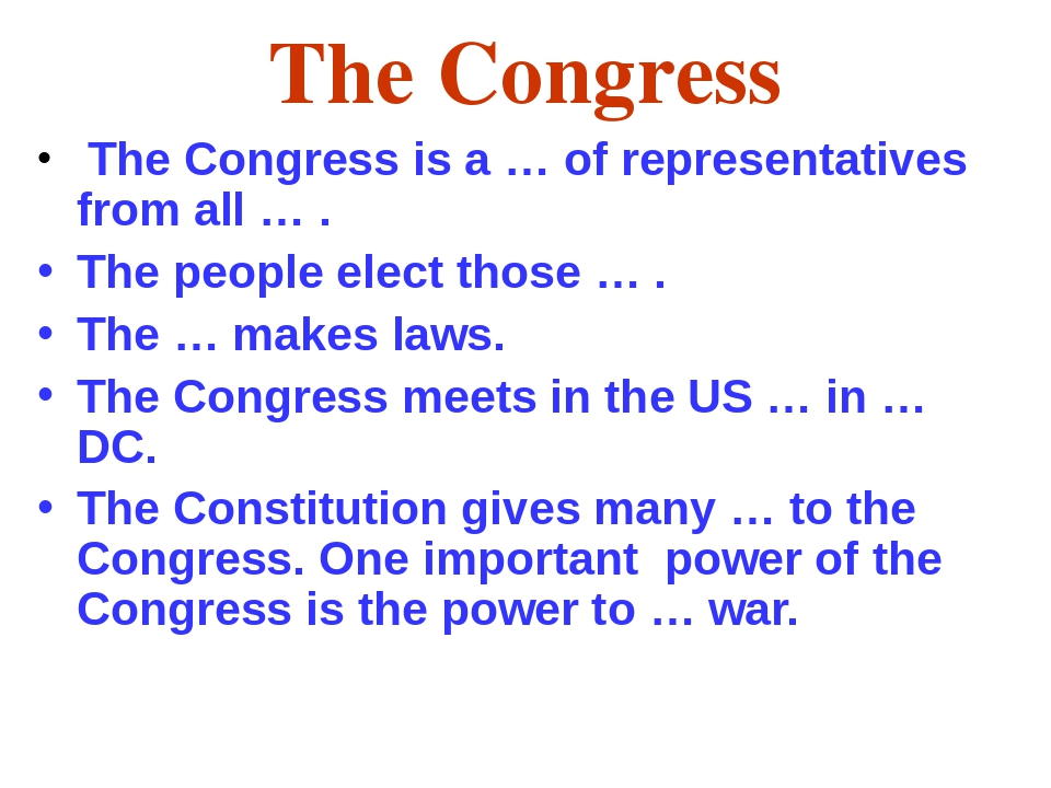 The Congress The Congress is a … of representatives from all … . The people e...