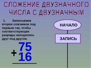 1.Записываем второе слагаемое под первым так, чтобы соответствующие разряд