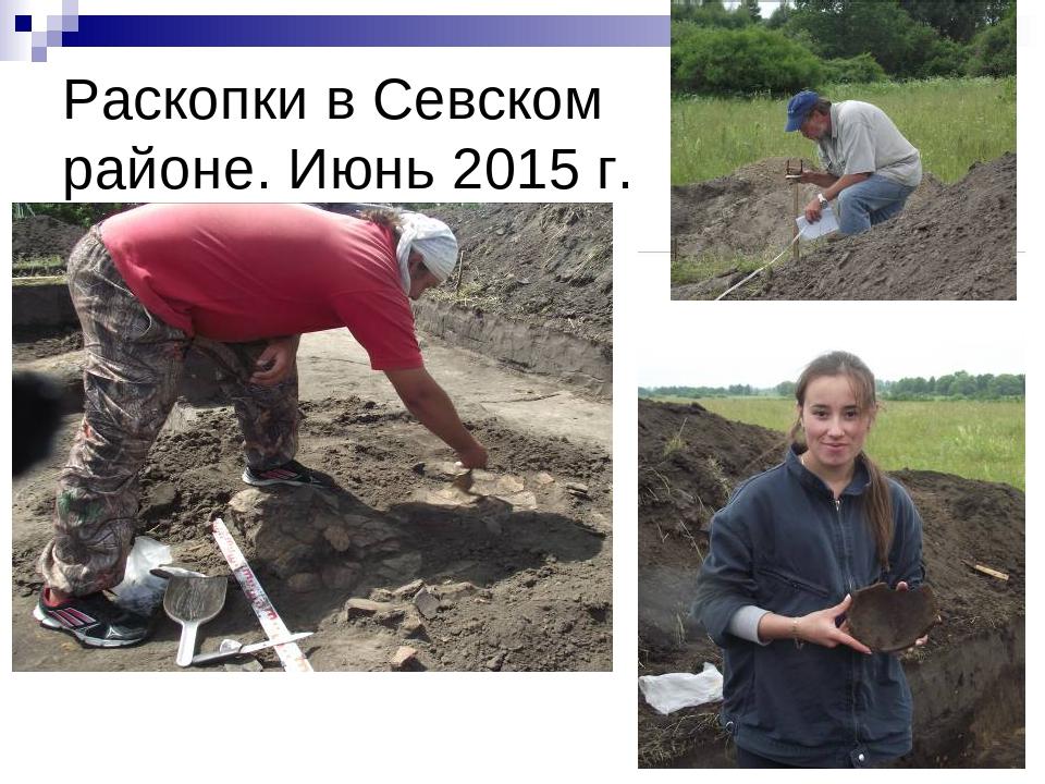 Раскопки в Севском районе. Июнь 2015 г.