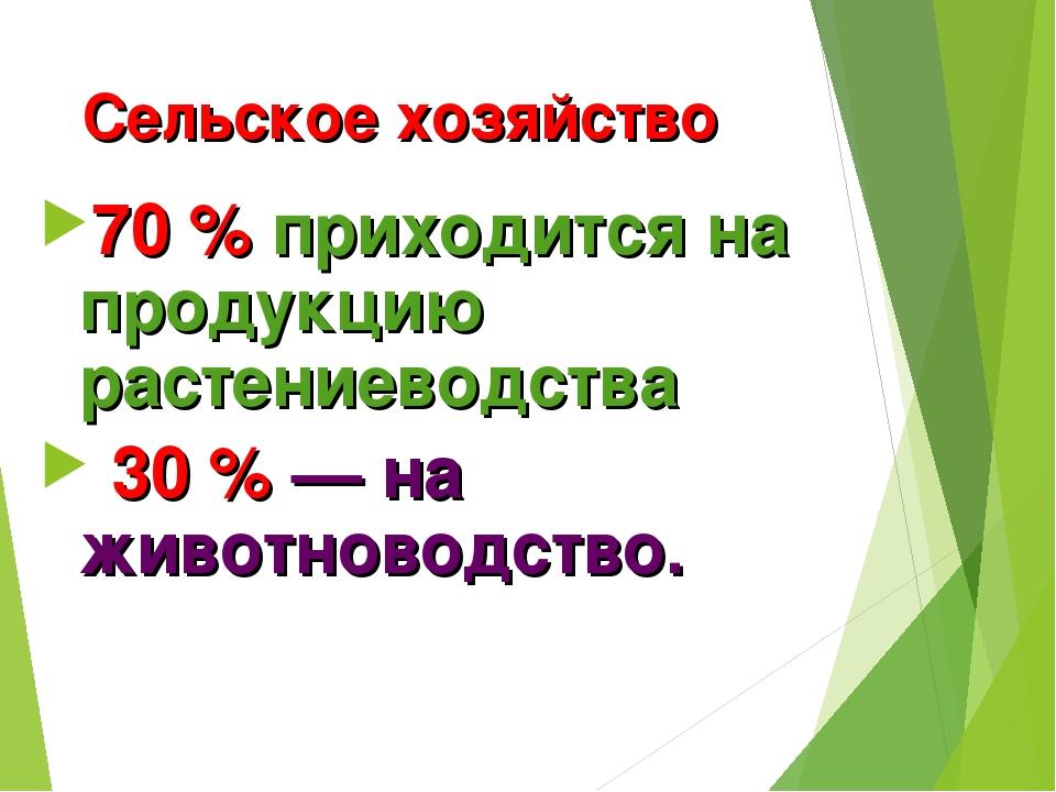 Сельское хозяйство 70% приходится на продукцию растениеводства 30%— на жив...