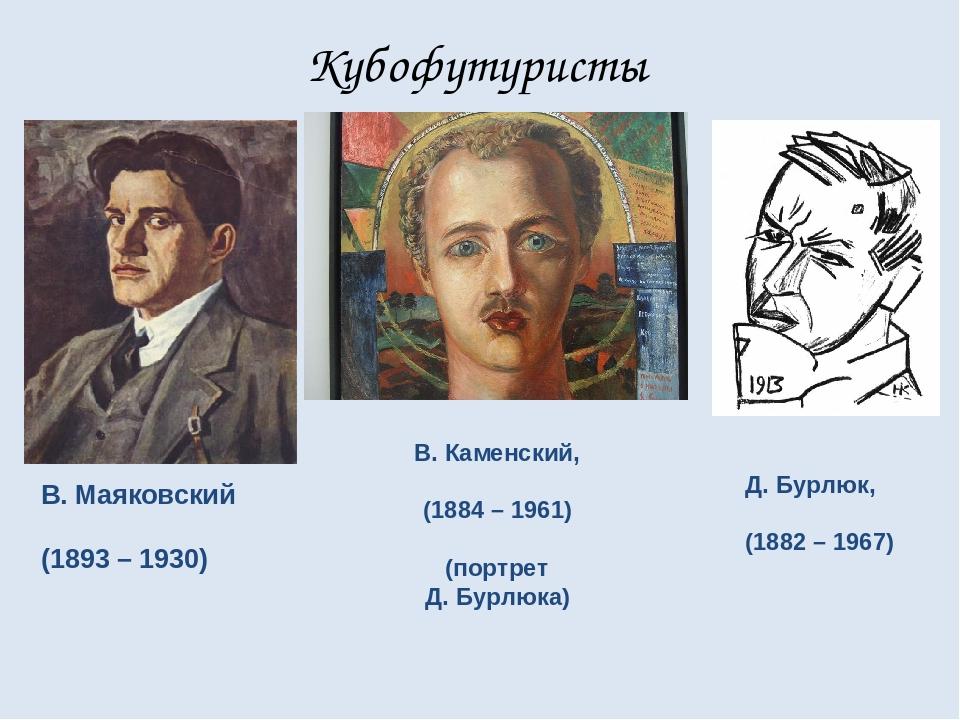 Кубофутуристы В. Маяковский (1893 – 1930) В. Каменский, (1884 – 1961) (портре...