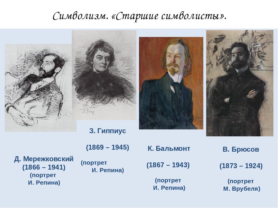 Символизм. «Старшие символисты». Д. Мережковский (1866 – 1941) (портрет И. Ре...