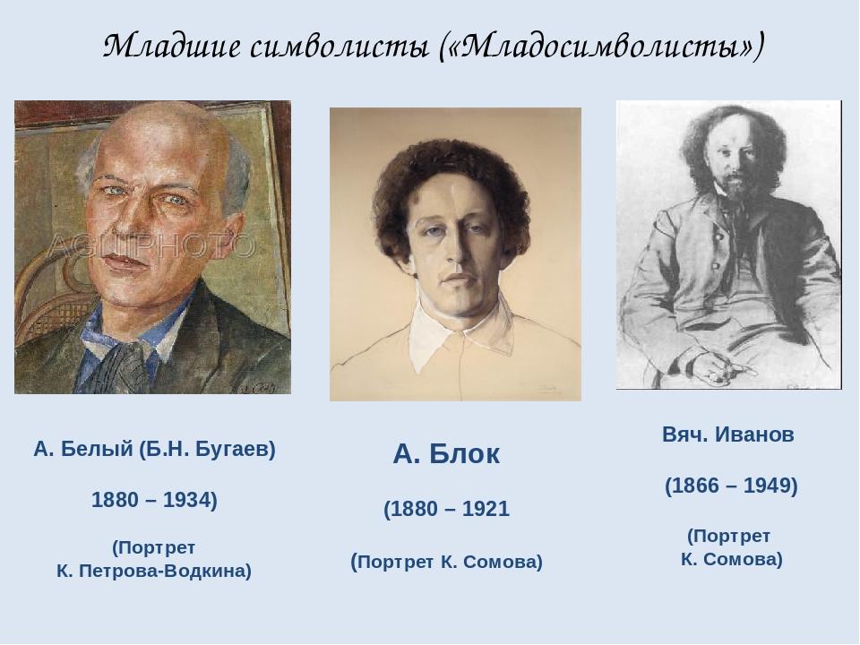 Младшие символисты («Младосимволисты») А. Белый (Б.Н. Бугаев) 1880 – 1934) (П...
