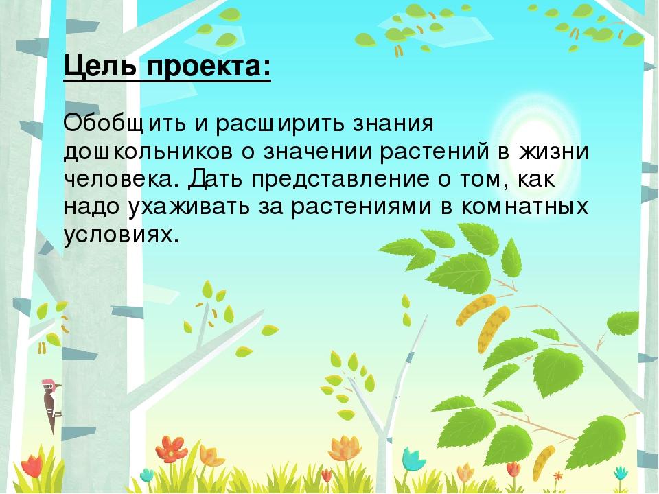 Цель проекта: Обобщить и расширить знания дошкольников о значении растений в...