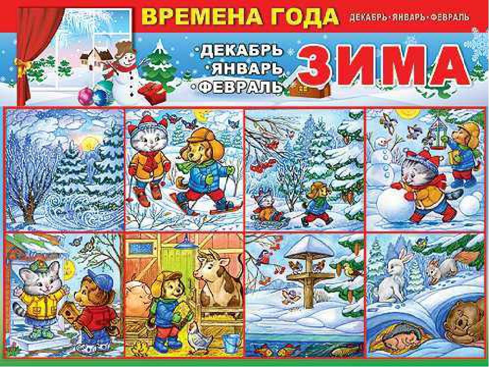 картинки для детей времена года зима всем мире дети