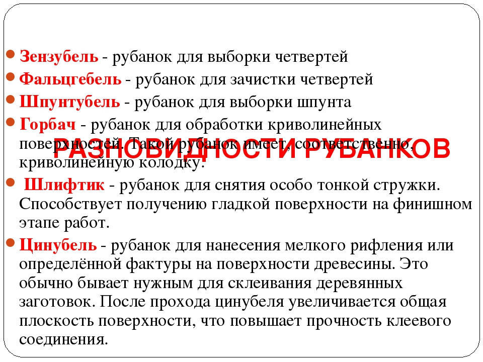 РАЗНОВИДНОСТИ РУБАНКОВ Зензубель- рубанок для выборки четвертей Фальцгебель...