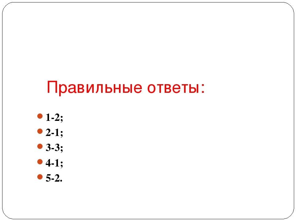 Правильные ответы: 1-2; 2-1; 3-3; 4-1; 5-2.