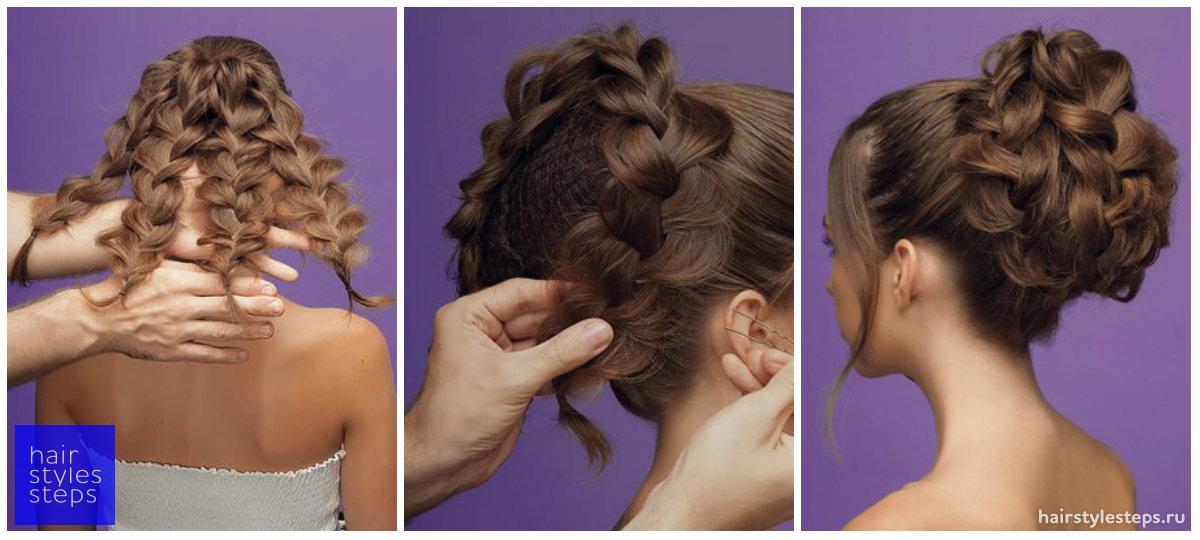 Смотреть вечерние причёски с плетением