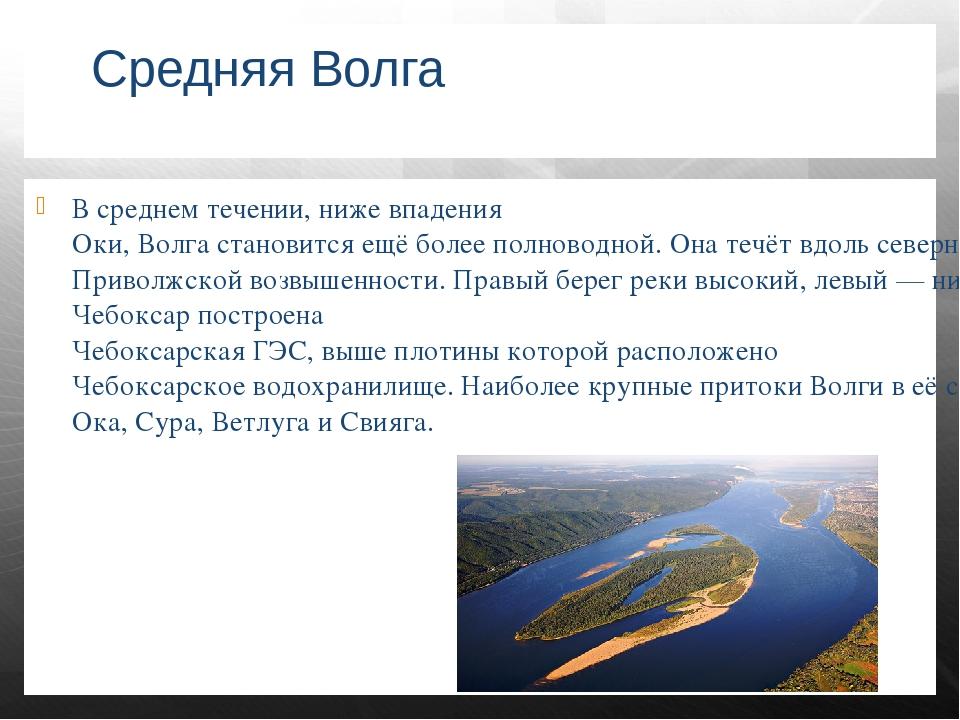 Средняя Волга В среднем течении, ниже впадения Оки, Волга становится ещё боле...