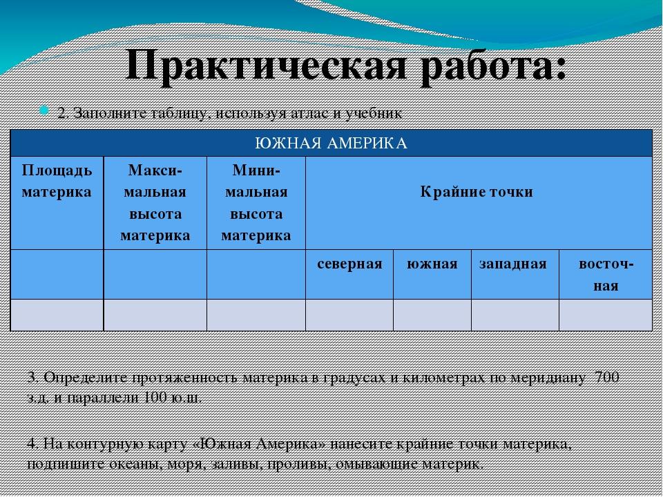 2. Заполните таблицу, используя атлас и учебник Практическая работа: 3. Опред...
