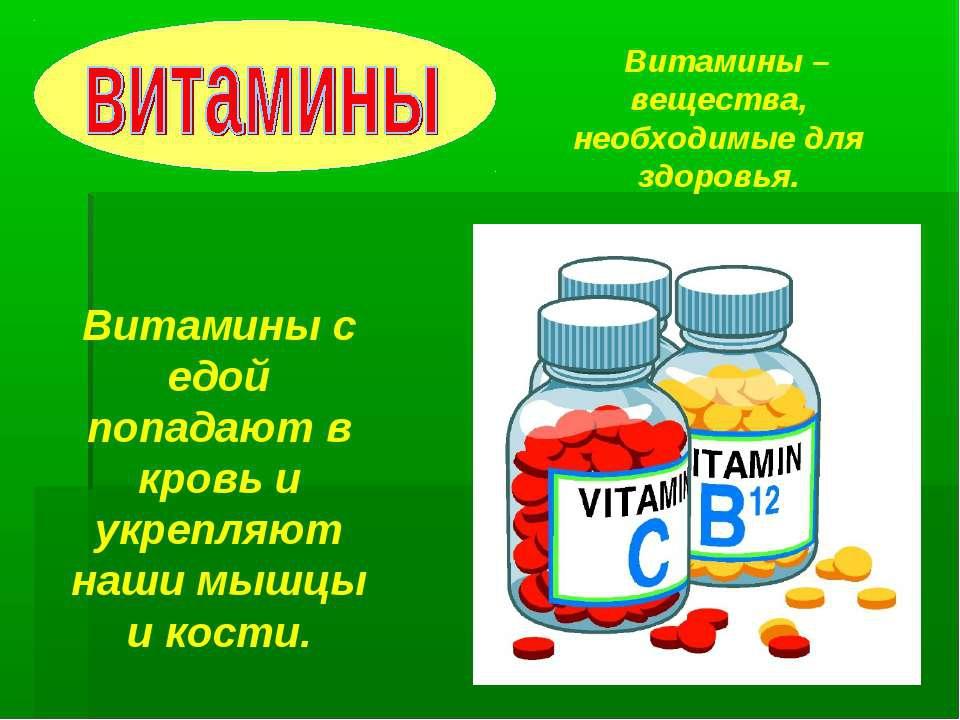 Презентация в картинках витамины