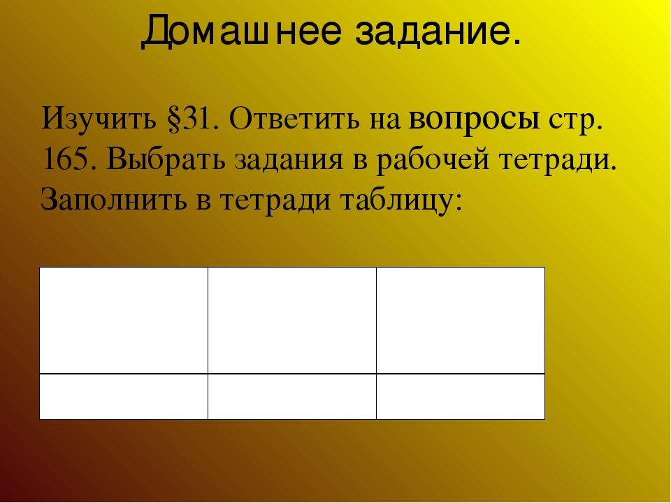 Домашнее задание. Изучить §31. Ответить на вопросы стр. 165. Выбрать задания...