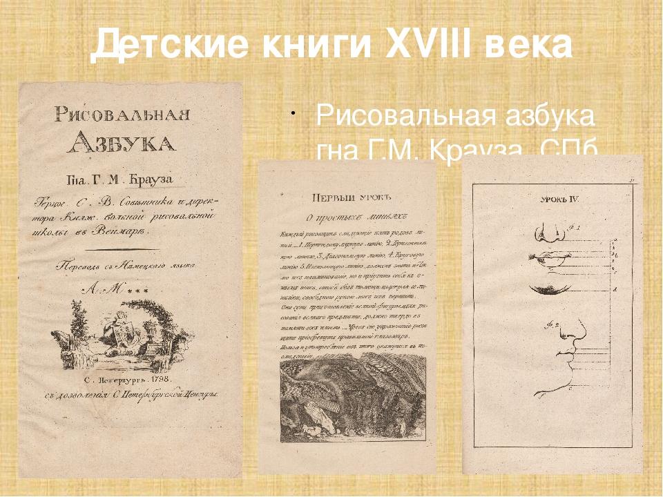 Детские книги XVIII века Рисовальная азбука гна Г.М. Крауза. СПб., 1798.