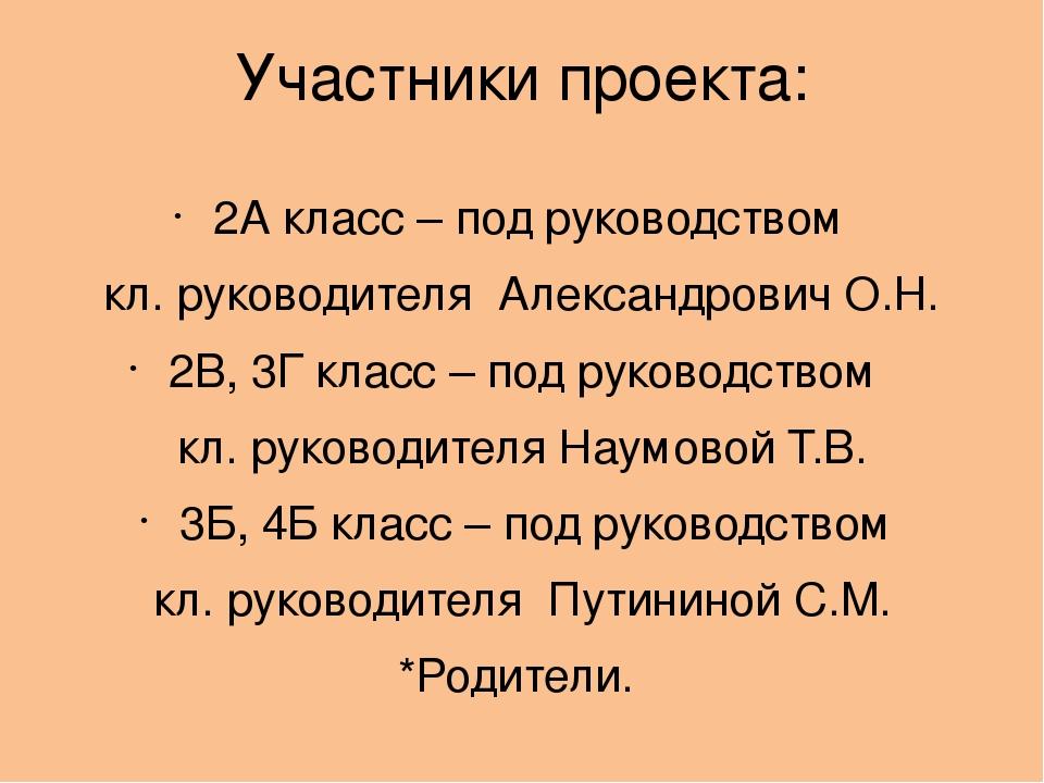 Участники проекта: 2А класс – под руководством кл. руководителя Александрович...