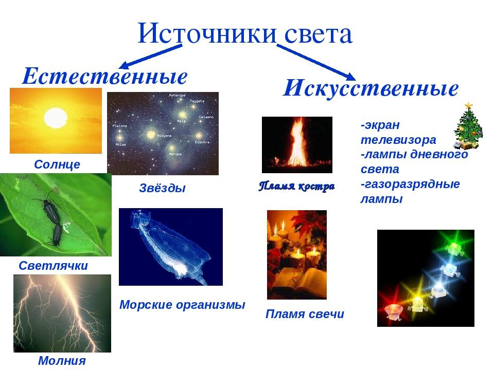 Пламя костра Естественные Искусственные Солнце Звёзды Светлячки Морские орган...