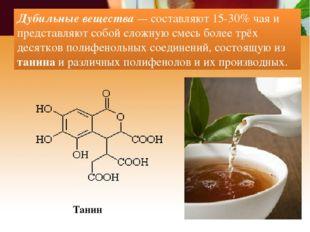 Дубильные вещества — составляют 15-30% чая и представляют собой сложную смесь
