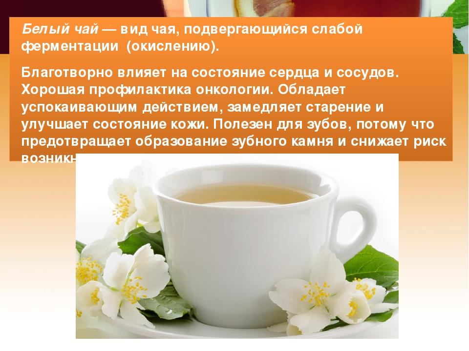 Белый чай — вид чая, подвергающийся слабой ферментации (окислению). Благотвор...
