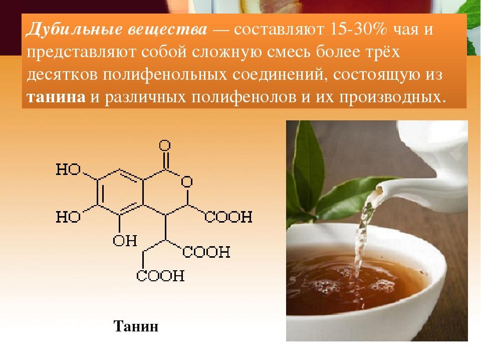 Дубильные вещества — составляют 15-30% чая и представляют собой сложную смесь...