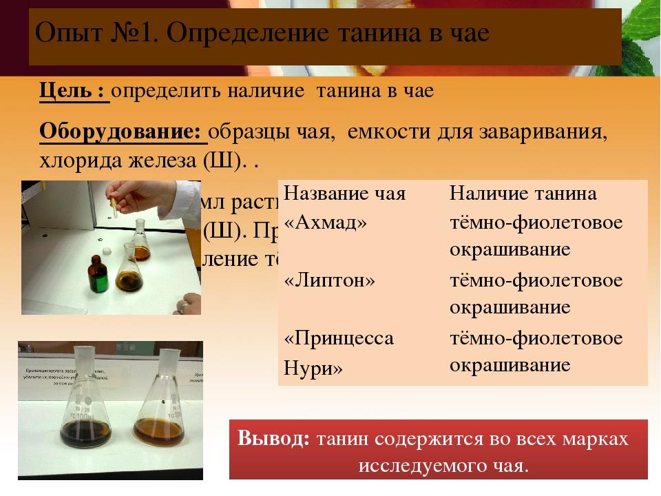 Опыт №1. Определение танина в чае Цель : определить наличие танина в чае Обор...
