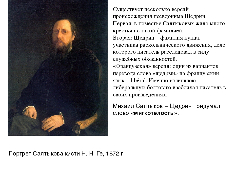 Портрет Салтыкова кистиН.Н.Ге, 1872г. Существует несколько версий происхо...
