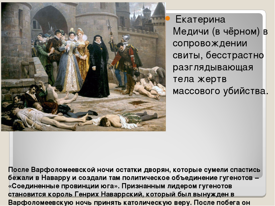 После Варфоломеевской ночи остатки дворян, которые сумели спастись бежали в Н...