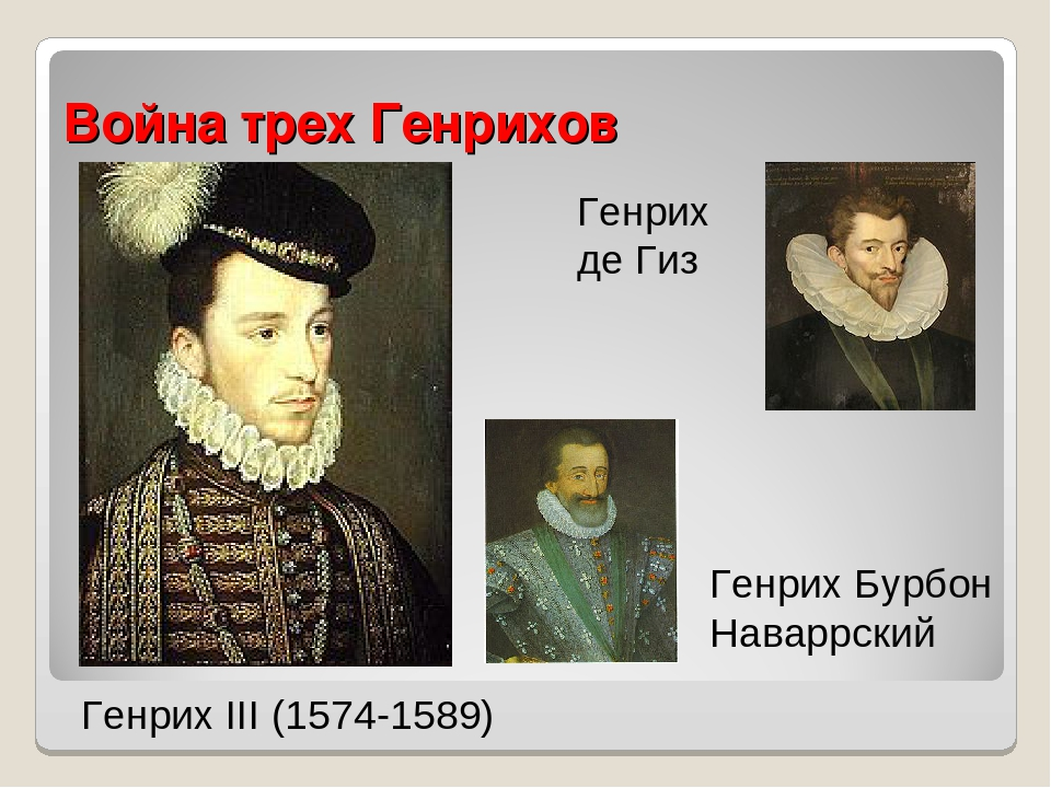 Война трех Генрихов Генрих III (1574-1589) Генрих де Гиз Генрих Бурбон Наварр...