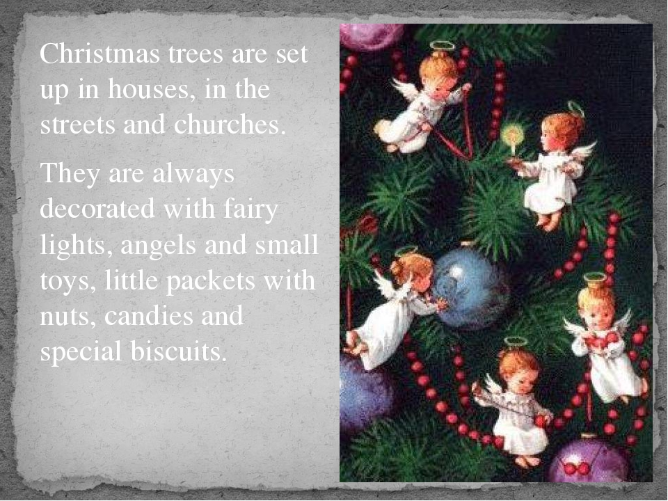 Christmas trees are set up in houses, in the streets and churches. They are...