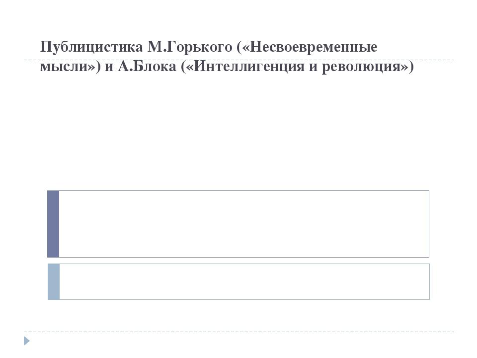 Публицистика М.Горького («Несвоевременные мысли») и А.Блока («Интеллигенция и...