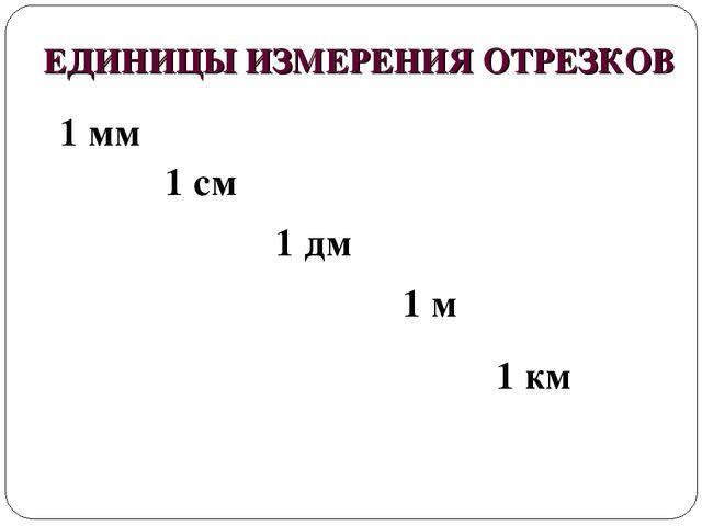 ЕДИНИЦЫ ИЗМЕРЕНИЯ ОТРЕЗКОВ 1 мм 1 дм 1 см 1 км 1 м