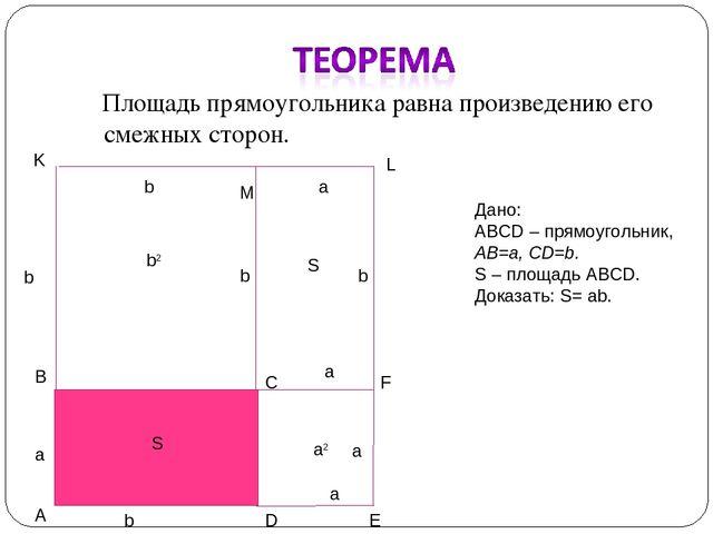 Площадь прямоугольника равна произведению его смежных сторон. Дано: ABCD – п...