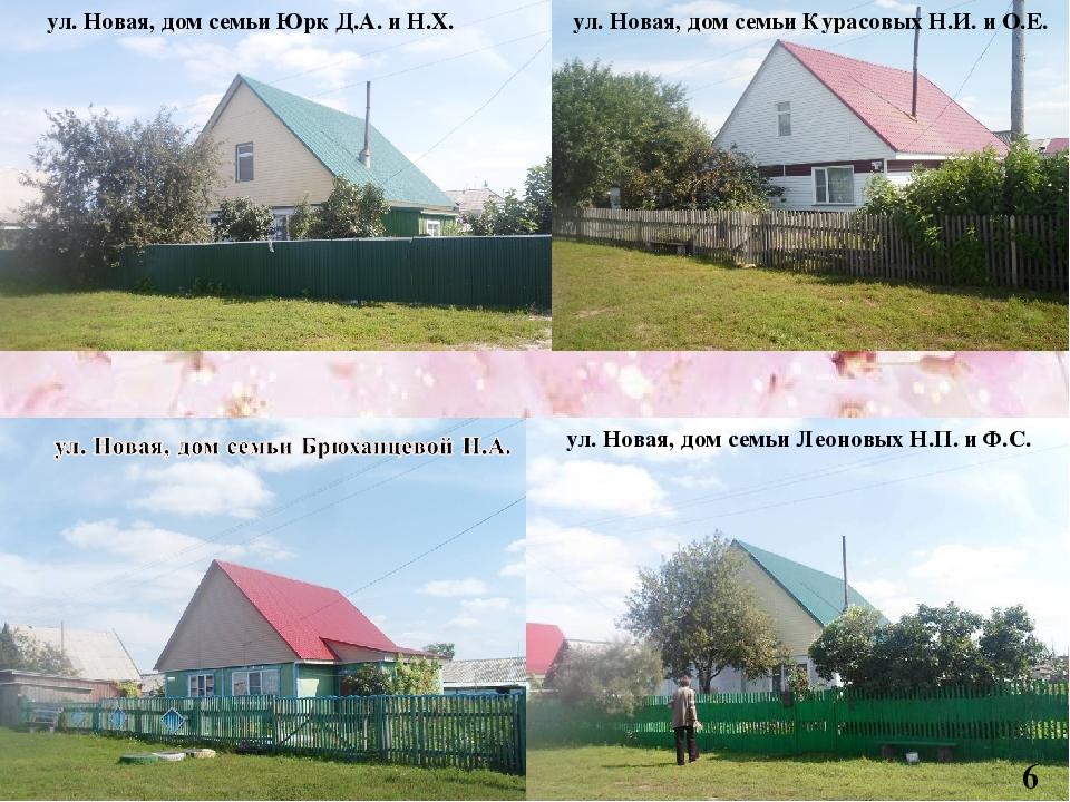 6 ул. Новая, дом семьи Леоновых Н.П. и Ф.С. 6 ул. Новая, дом семьи Юрк Д.А....