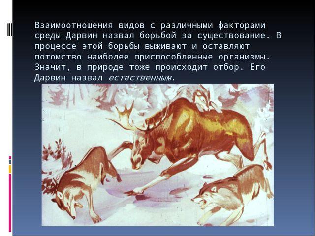 Взаимоотношения видов с различными факторами среды Дарвин назвал борьбой за с...