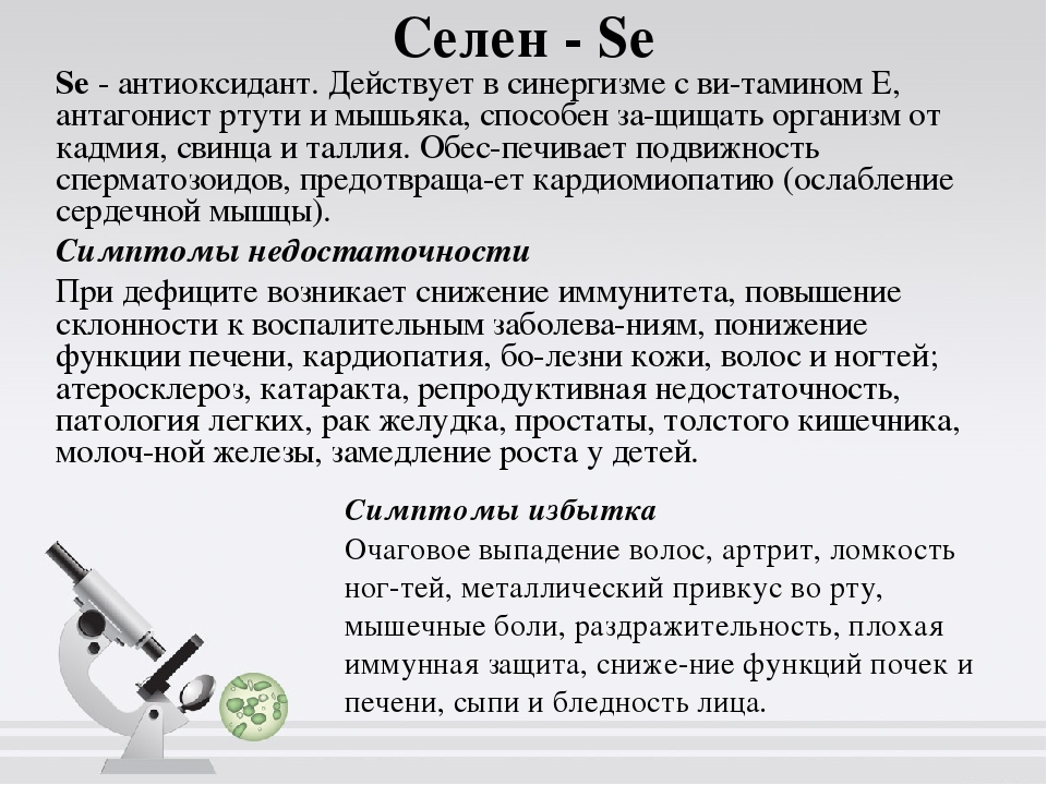 Селен -Se Se- антиоксидант. Действует в синергизме с витамином Е, антагони...