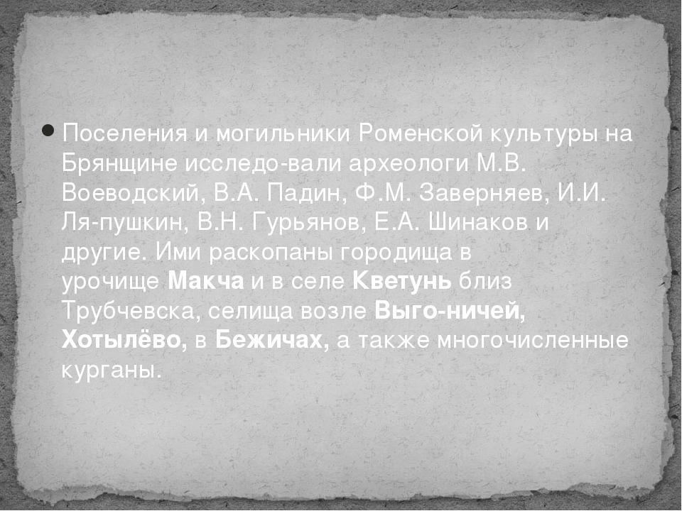 Поселения и могильники Роменской культуры на Брянщине исследовали археологи...