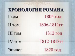 ХРОНОЛОГИЯ РОМАНА I том 1805 год II том 1806-1811гг III том 1812 год IV том 1