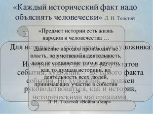 «Каждый исторический факт надо объяснять человечески» Л. Н. Толстой Для истор