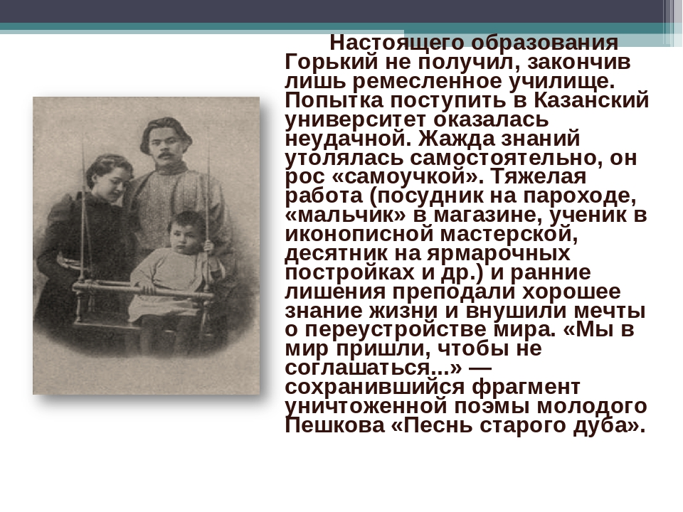 Настоящего образования Горький не получил, закончив лишь ремесленное училище...