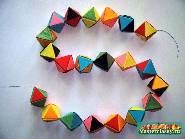 Как из бумаги сделать гирлянду оригами