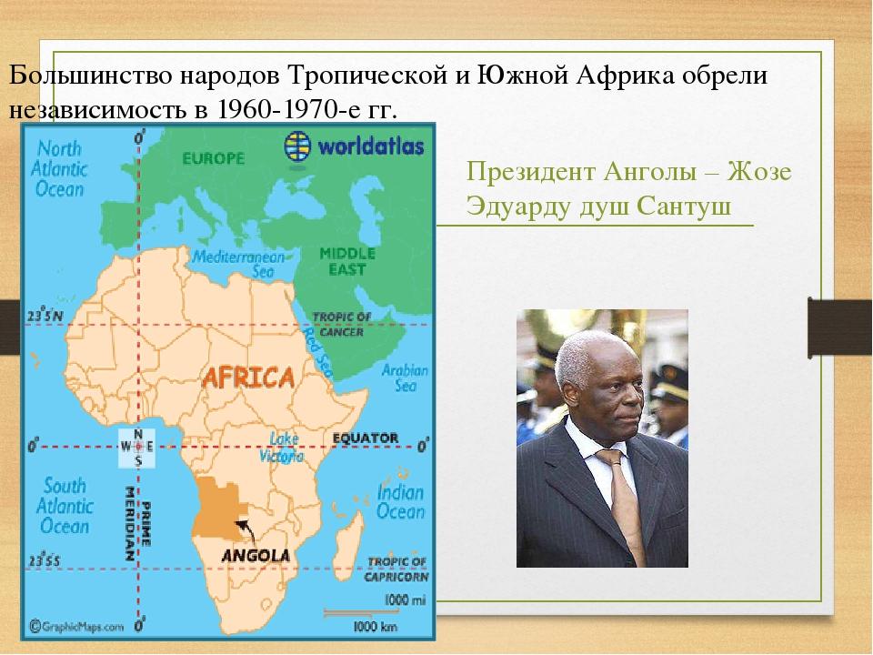 Большинство народов Тропической и Южной Африка обрели независимость в 1960-19...