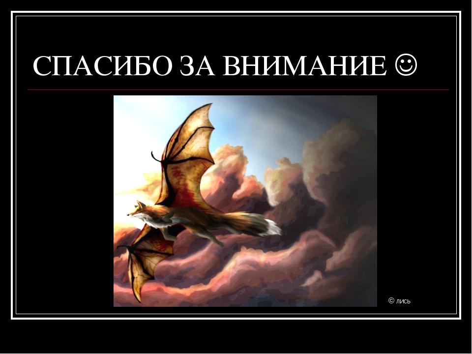 СПАСИБО ЗА ВНИМАНИЕ  © ЛИСЬ