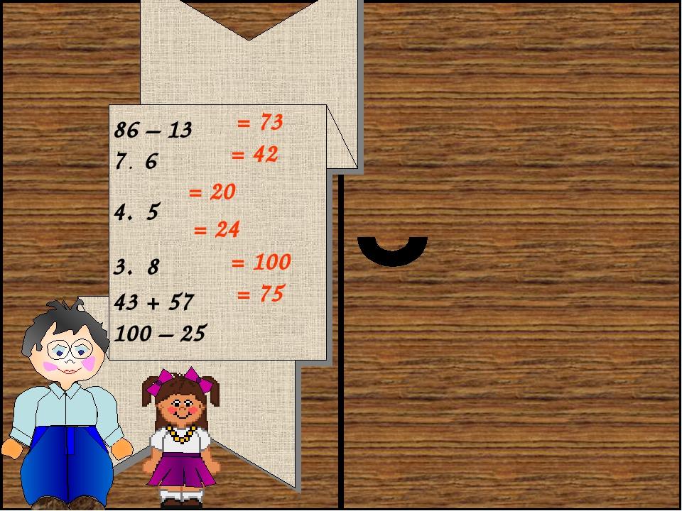 86 – 13 7 . 6 4 . 5 3 . 8 43 + 57 100 – 25 = 73 = 42 = 20 = 24 = 100 = 75