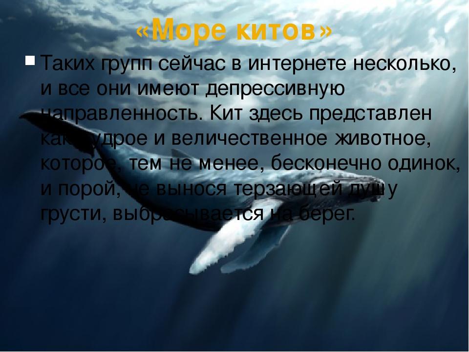«Море китов» Таких групп сейчас в интернете несколько, и все они имеют депрес...