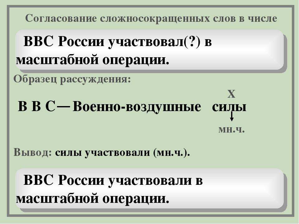 ВВС России участвовал(?) в масштабной операции. Образец рассуждения: В В Вое...