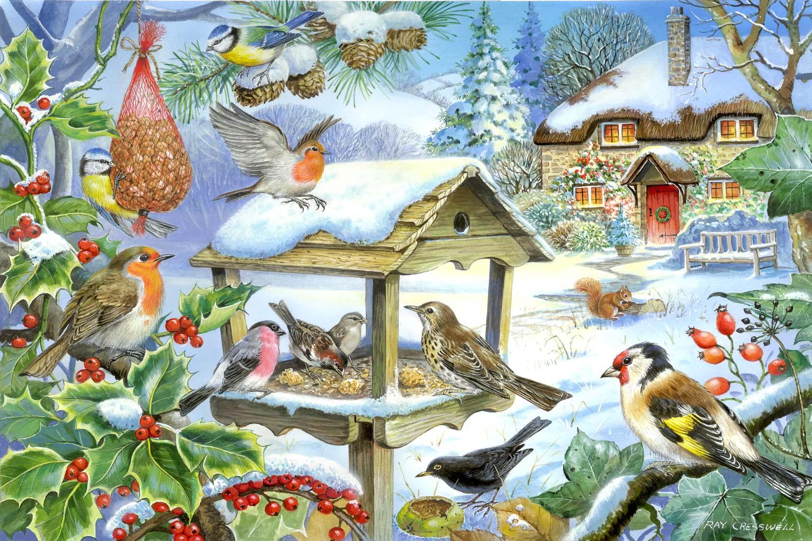 Зимой на ветках яблоки скорей их собери и вдруг вспорхнули яблоки да это